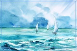 Malkurs Aquarell Meer Wasser Wolken