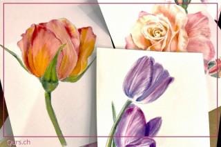 Malkurs: Blumen malen mit Aquarellfarben