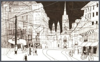 Lockeres Skizzieren mit Fineliner und Pinselstift in der Stadt
