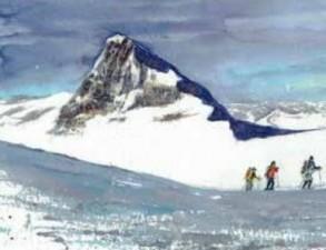 Malkurs Aquarell: Berge und Felsen auf Leinwand